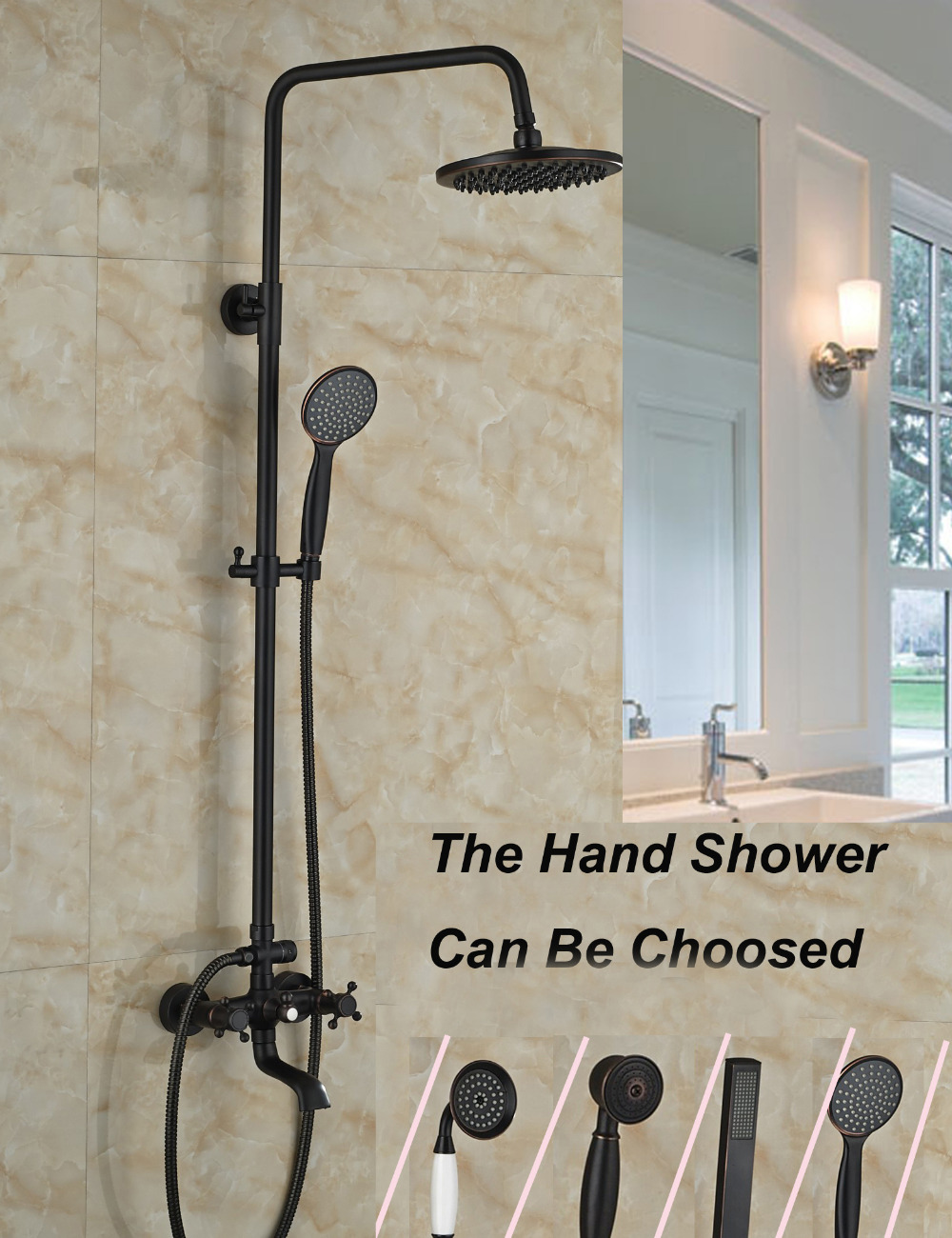 Led Square Rain Shower Head Oil Rubbed Bronze Shower Faucet Swivel Spout Tub Mixer Tap Single Handle Tap W/ Hand Shower Shower Equipment