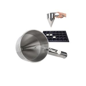 Image 2 - Itop aço inoxidável pequenas bolas de polvo fazendo funil cupcakes cozimento dispensador com rack utensílios cozinha funil ferramentas