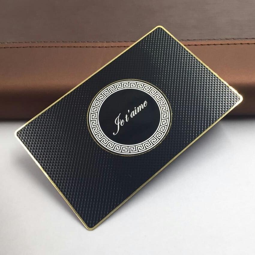 Us 99 0 Gedruckt Schwarz Metall Karte Matt Finishing Benutzerdefinierte Edelstahl Visitenkarte Design Vorlagen Gold Rand Und Logo In Visitenkarten