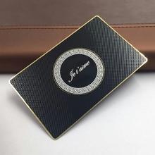 Tarjeta negra metálica impresa, acabado mate, plantillas personalizadas de diseño de tarjeta de visita de acero inoxidable, borde dorado y logotipo