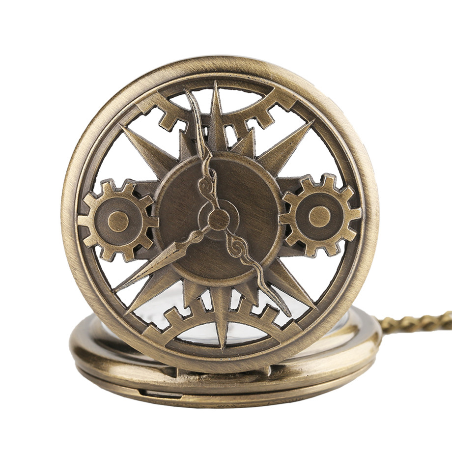 Vintage Retro Bronze Hollow Gear Movement Quartz Pocket Watch Pendant Gift With Chain Pocket Watches