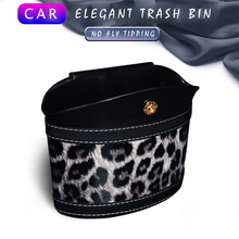 E-FOUR Trash Can for Car Elegant Leopard Leather ABS Tin Garbage Rubbish Box Seat Back Door Bucket Bottle Umbrella