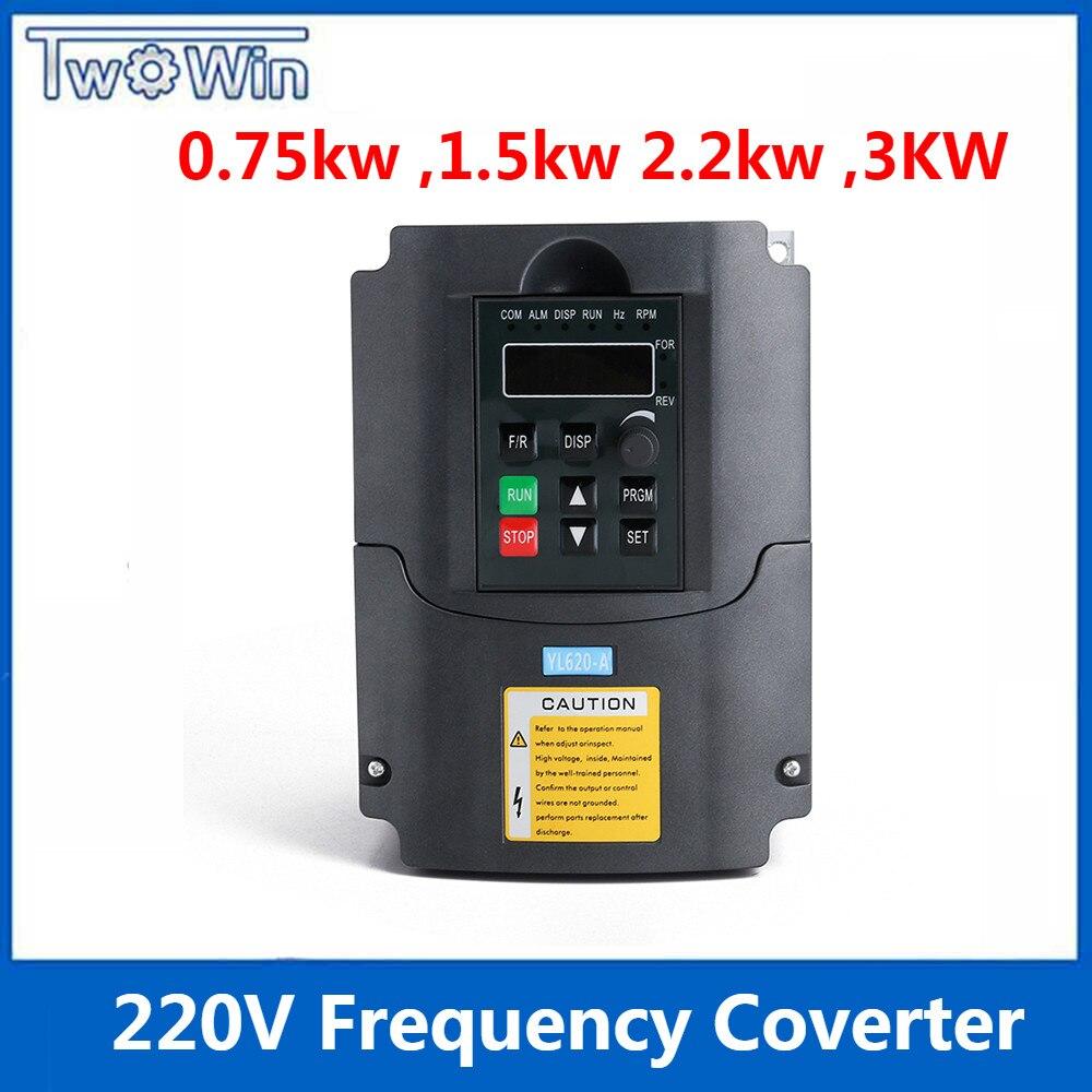 0 75 kw 1 5kw 2 2kw 3kw 220v AC Frequency Inverter single phase input 3