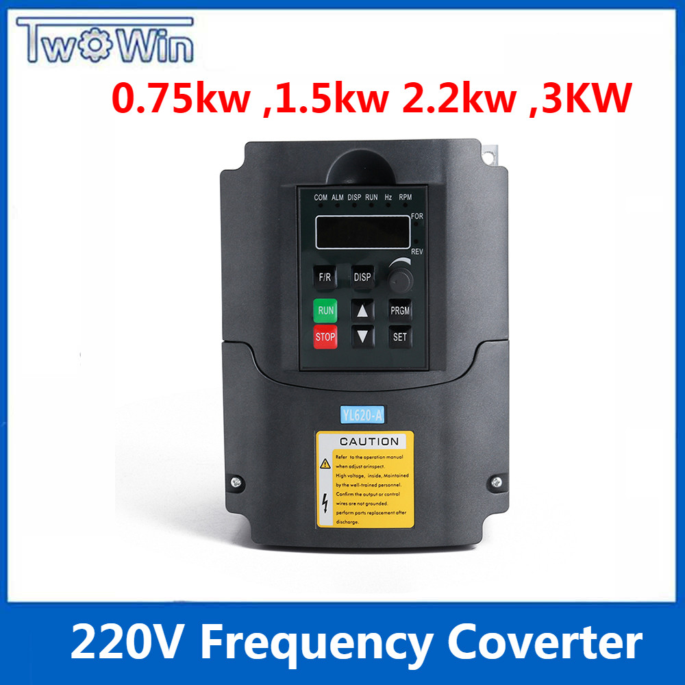 medium resolution of 0 75 kw 1 5kw 2 2kw 3kw 220v ac frequency inverter single phase input 3 phase output ac drives frequency converter