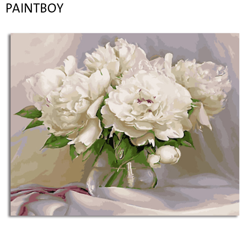 paintboy Flower Framed Picture DIY Painting By Numbers Acrylicl Painting On Canvas Home Decor For Living Room GX4870 40*50cm