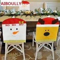 AIBOULLY 4 יח'\סט כובע סנטה קלאוס כיסוי כיסא כיסא אחורי מכסה כובע אדום צד שולחן ארוחת ערב חג המולד חג המולד קישוט 2017