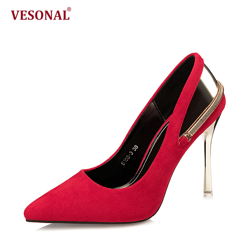 VESONAL 2018 Summer 10CM Extreme High Heels Shoes Women Pumps Slip On Sexy Fashion Female Office Lady Shoes Party Evening Red vesonal summer 100