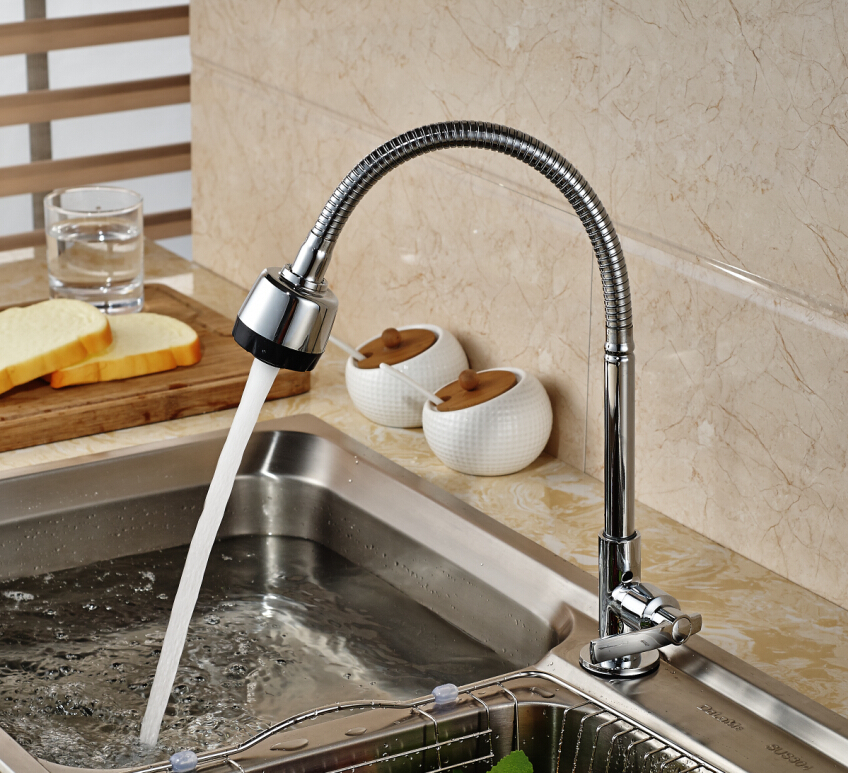 Classic Deck Mounted Kitchen Faucet Cold Tap Chrome Brass Swivel Spout Single Handle Single Sprayers