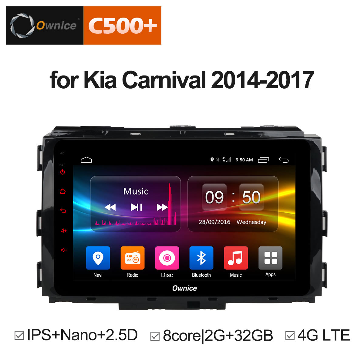 Ownice C500+ G10 32G ROM Octa Core Android 8.1 Car DVD Radio GPS Navigation Player for Kia Carnival 2014 - 2017 Carplay 4G LTE ownice c500 android 6 0 octa 8 core 4g sim lte car dvd player for great wall hover h3 h5 with gps navigation radio 32g rom
