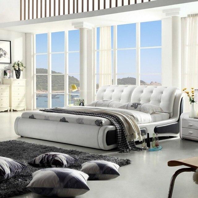RAMA DYMASTY en cuir véritable lit doux design moderne lit/mode roi/reine  taille chambre meubles