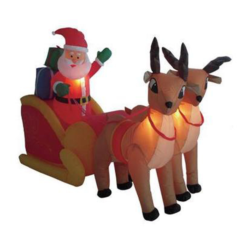 210cm Giant Inflatable Santa Claus Double Deer Sled LED Lighted Blows Up Fun Toys Children Christmas Gifts Halloween Party Props outdoor christmas decoration inflatable santa claus 20ft high 6m high factory direct sale bg a1188 toy