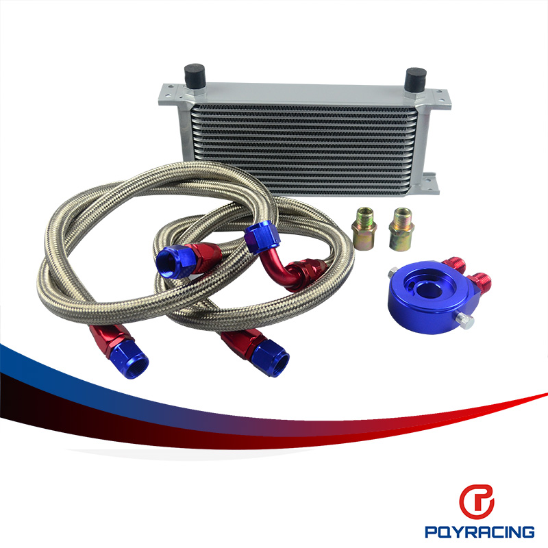PQY RACING- AN10 OIL COOLER KIT 16 ROWS TRANSMISSION OIL COOLER SILVER+OIL FILTER  ADAPTER BLUE + STAINLESS STEEL BRAIDED HOSE pqy store an10 oil cooler kit 25rwos transmission oil cooler silver oil filter adapter blue pqy3825b