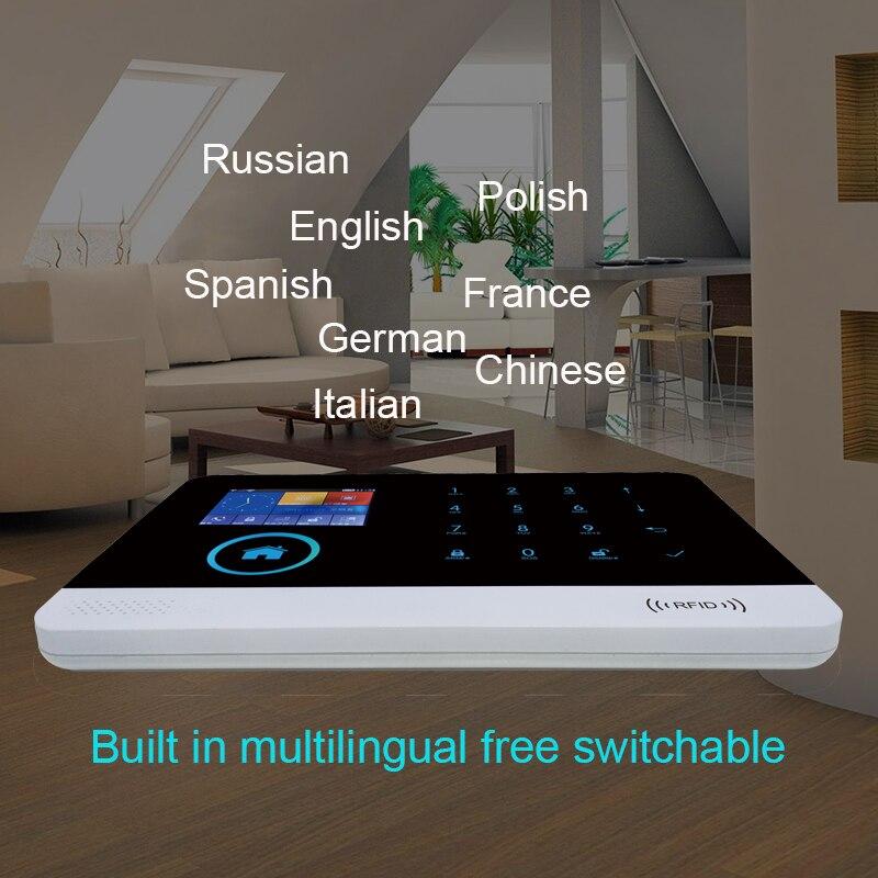 Wofea wifi GSM Wireless Burglar Security Alarm System for Home Business APP Control Siren RFID Motion Detector PIR Smoke Sensor