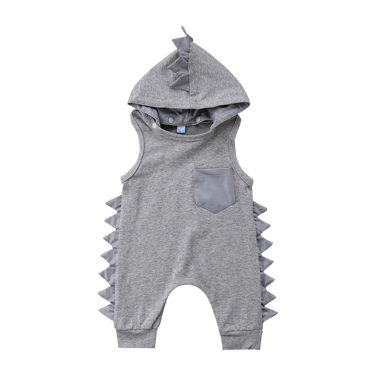 Newborn Baby Clothes Girl Boy Romper Cotton Hooded Outfits Dinosaur Hat Long Sleeve Romper Gray
