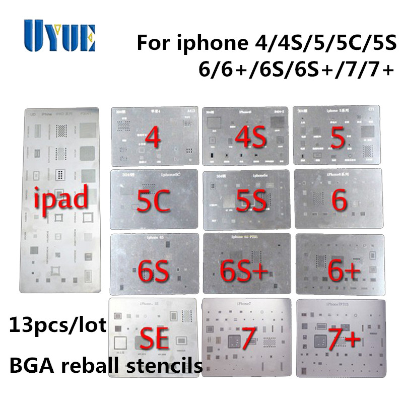 13Pcs/Lot Factory Price High Quality Full Set BGA Reballing Stencil Dedicate Kit for IPhone 4 4s 5 5s 5c 6 6+ 6S 6s+7 7+ SE iPad