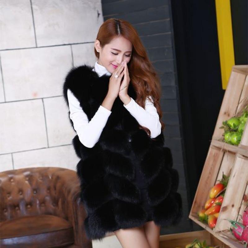 Žhavá nabídka Winrter Nové ženy Dlouhá odstavná vesta Fox Fur Ladies Coat Vest Jednobarevná O-Neck Fox Fur Vesta Tenká a elegantní
