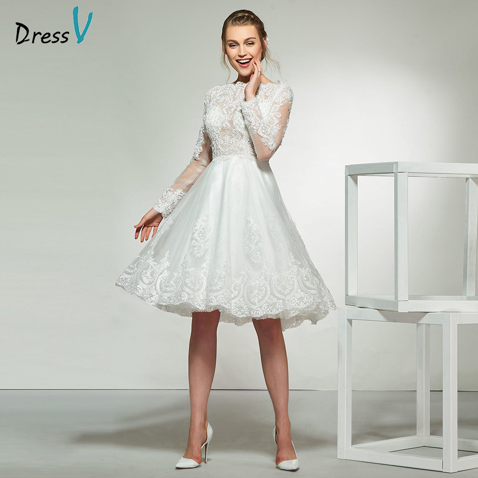 Dressv ivory elegant a line long sleeves beading wedding dress knee length bridal outdoor&church beading wedding dresses
