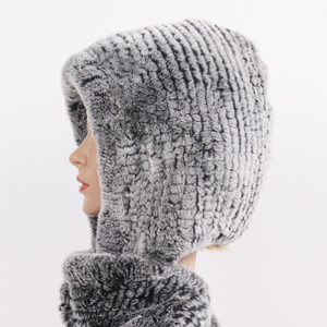 Image 3 - 2020 novas mulheres de inverno real pele chapéu + cachecóis feminino malha natural rex pele de coelho com capuz cachecóis quente malha genuína capas de pele cachecol