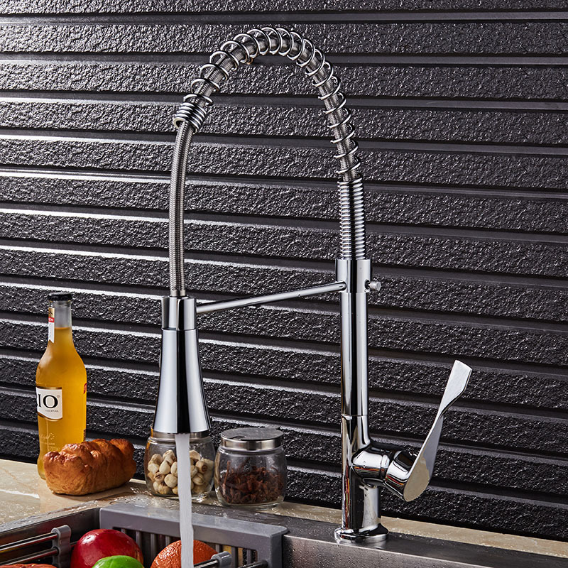 electroplating, hot spring can rotate the hot and cold water tap Kitchen sink faucets