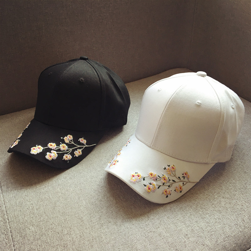 cap women black pink baseball cap women black flowers white caps womens cap women baseball caps embroidery (8)