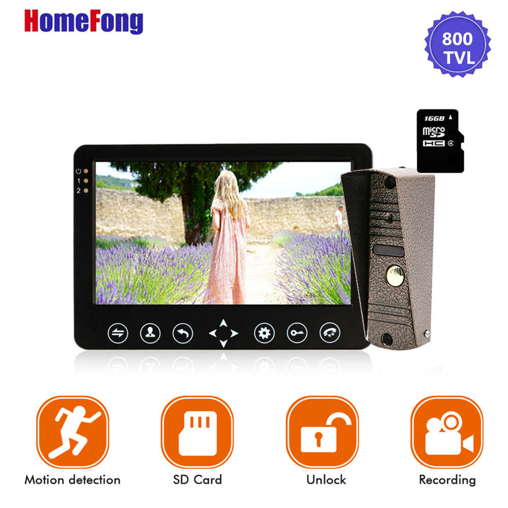 Image 2 - Homefong 7 Inch Video Door Phone 1 Camera  Wired Doorbell Recording Unlock Motion Sensor Black/White SD Card Touch Button-in Video Intercom from Security & Protection