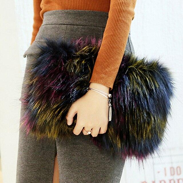 Yesikimi Faux Fox Fur Handbag Winter Warm Clutches Female Colorful Evening Bag Envel Party Purse Chain