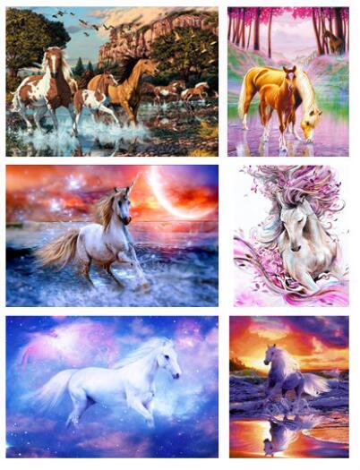 DIY 5D Diamond Painting Animal horse Cross Stitch Mosaic diamond embroidery Needlework Patterns Full Round Rhinestone Home deco