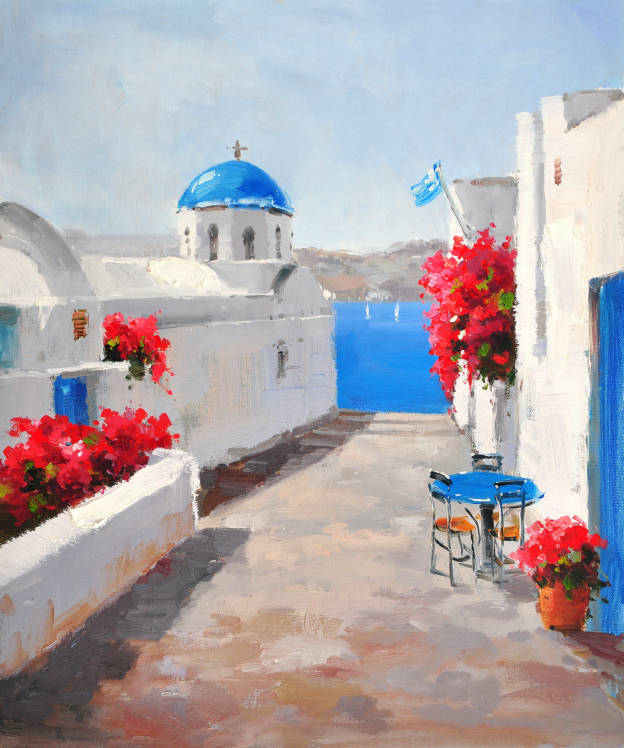 Painting On Canvas Mediterranean Santorini Greece Blue Roof White House Red Flowers Prints Home Goods Wall Art Decoration