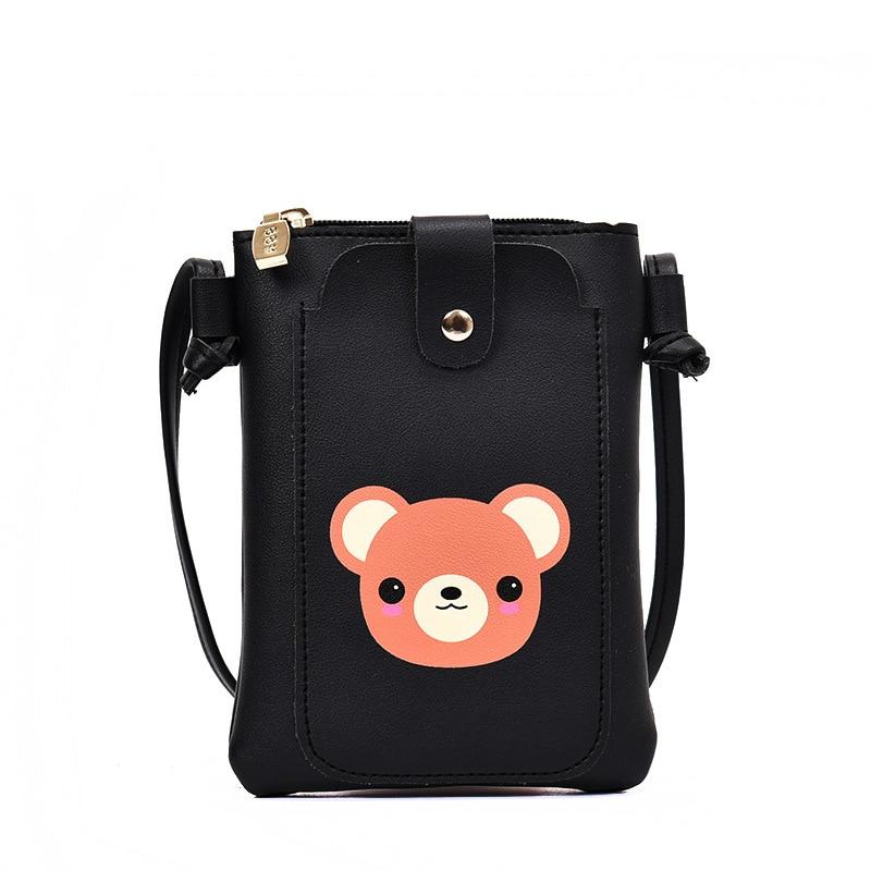 Cnmiuter Новый Для женщин симпатичный медведь мешок мобильного телефона ulzzang мини-сумка для девочек Сумки через плечо из Высокое качество PU кожа Сумка