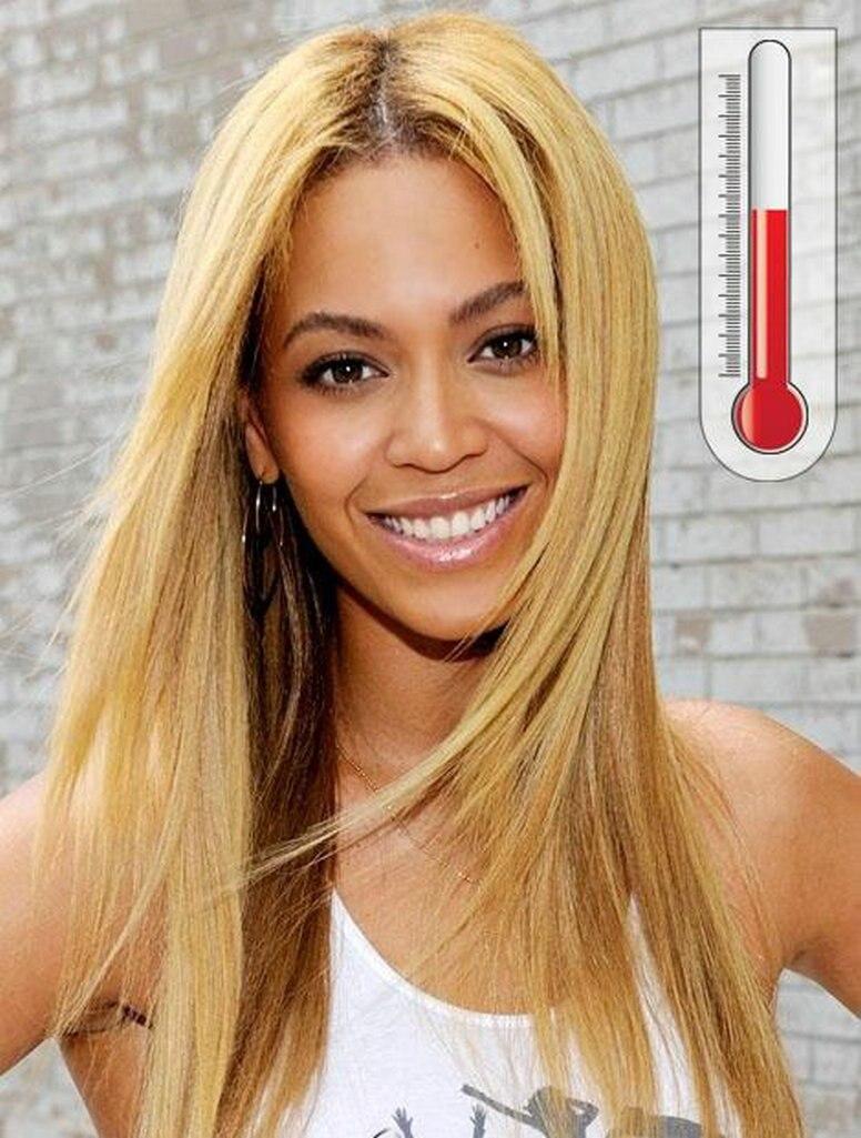 Niestandardowe Beyonce ciemne korzenie blonde hair prosto