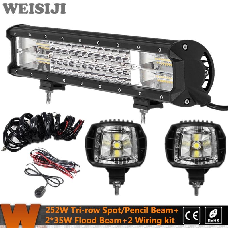 WEISIJI New Tri-row 252W LED Offroad Light Bar+2Pcs 35W Flood Beam LED Work Light+2Pcs Wiring Kit Set for Jeep Truck SUV ATV UTV видеоигра бука saints row iv re elected