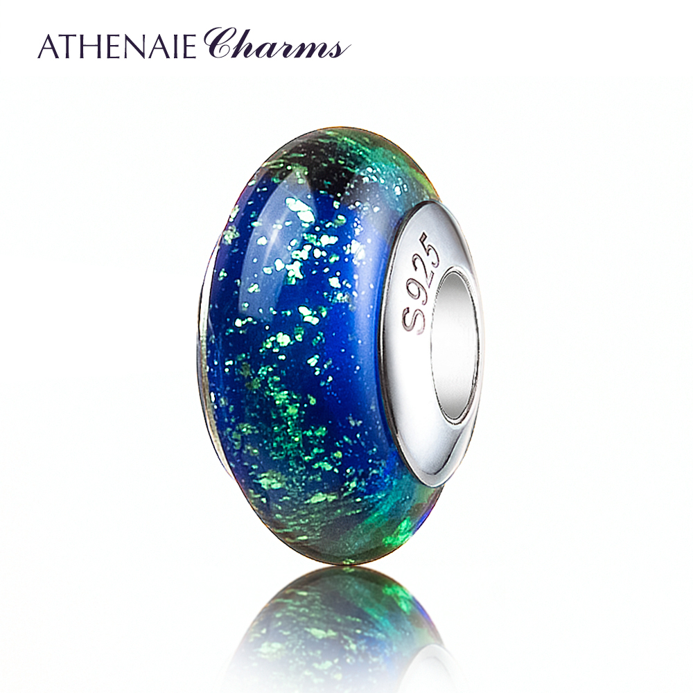 ATHENAIE Genuine Murano Glass 925 Silver Core Gold Sand Charms Bead Fit All European Bracelets Color Blue Gift For Christmas Day