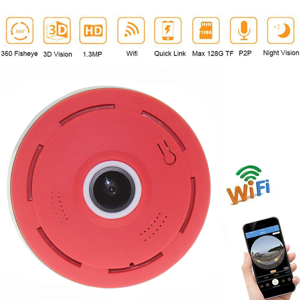 Fish-eye VR Panoramic Camera HD 960P Wireless Wifi IP Camera Home Security Surveillance System Camera Wi-fi 360 degree Webcam vr360 panoramic camera wi fi remote control sports action camera