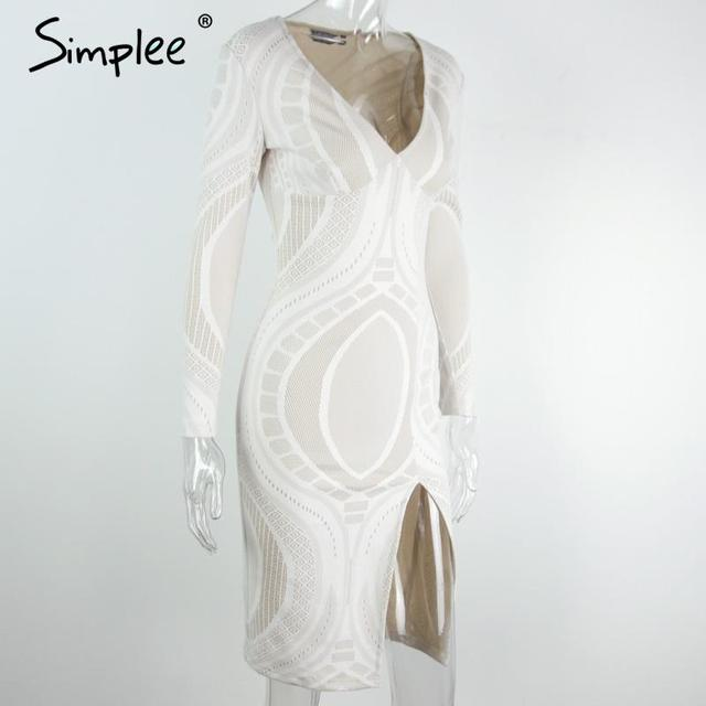 Simplee Sexy white lace split bodycon dress Women autumn deep v neck slim pencil dresses Party long sleeve winter dress vestidos