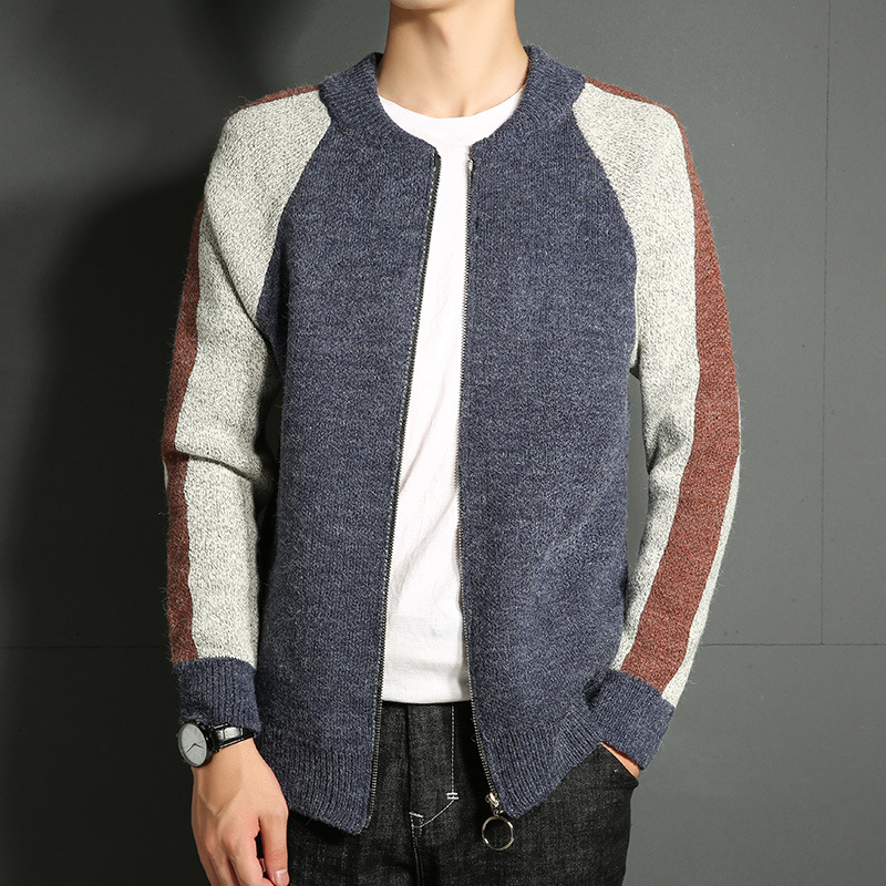 Knitted Baseball Stitching Color Zipper Cardigan Male Maglieria Uomo Casual Wear Winter  ...