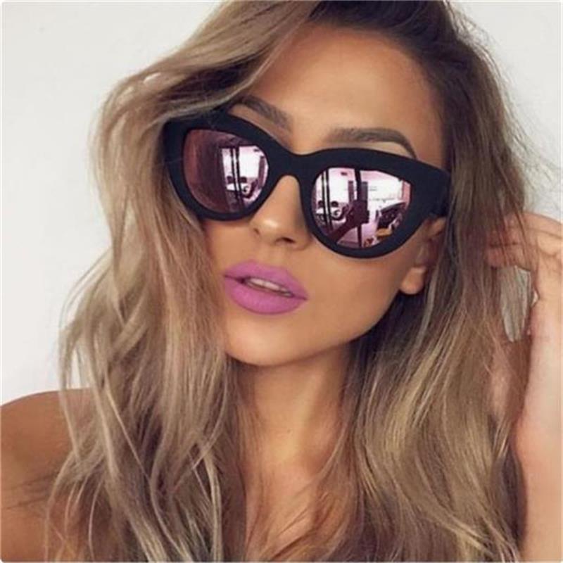 Sunglasses Women Barbie-Powder-Mirror-Lens Retro Cateye Fashion Ladies Brand Designer
