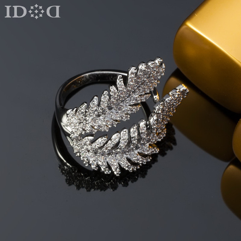 Clic C Brand Feather Fashion Rings Personalized Wedding Accessories Free Adjule Finger For Women In From Jewelry On