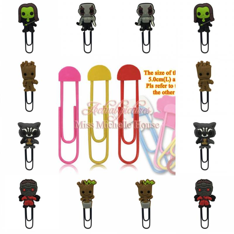 1pcs cartoon pvc Bookmark Hot Movie Iron Man Figure Guardians of the Galaxy Bookmarks for books stationery metal Paper Clip