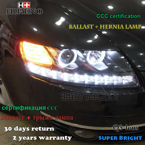 Hireno Headlamp for 2005-2008 Audi A6 C5 Headlights LED Headlight Assembly DRL Angel Lens Double Beam HID Xenon 2pcs hireno headlamp for 2013 2015 nissan tiida headlight assembly led drl angel lens double beam hid xenon 2pcs