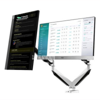 D7D Desktop Full Motion Dual LCD Monitor Holder Computer Rotation Mount Retractable Fit for 10 27 Max Support 9KG Weight