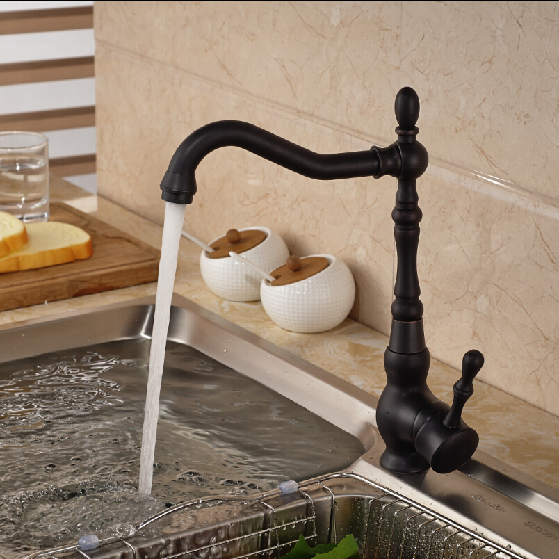 Deck Mount Countertop Bathroom Kitchen Vanity Sink Faucet Single Handle Kitchen Hot Cold Water Taps