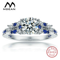 MDEAN Simulated Sapphire Jewelry 925 Sterling Silver Wedding Rings For Women CZ Diamond Bague Size 5