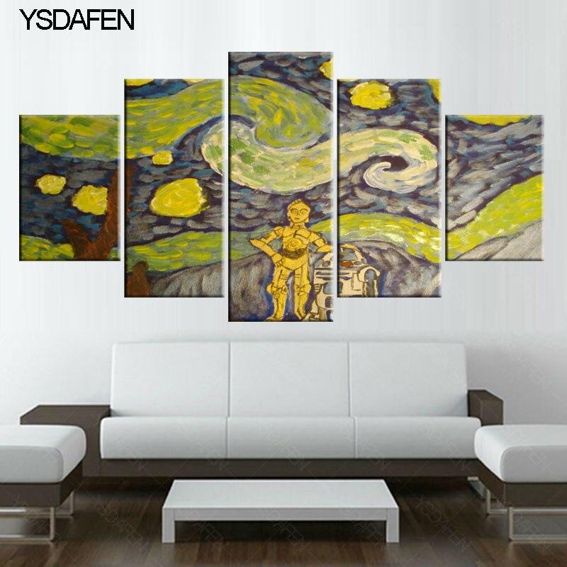 HD Printed 5 Piece Canvas Art Van Gogh Star Shadow