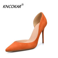 KNCOKAR Spring And Autumn New Style Pointed Europe And America Suede Sexy Shallow Mouth Stilettos Women's Shoes