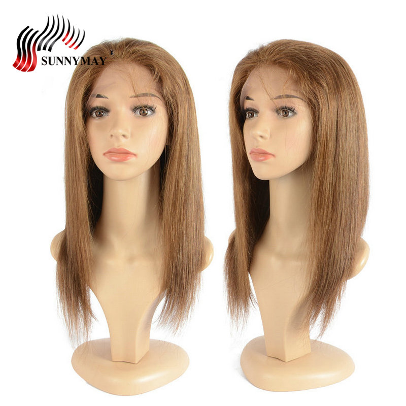 Sunnymay Glueless Full Lace Human Hair Wigs #4 Color Straight Hair Brazilian Virgin Lace Wig With Baby Hair Pre Plucked