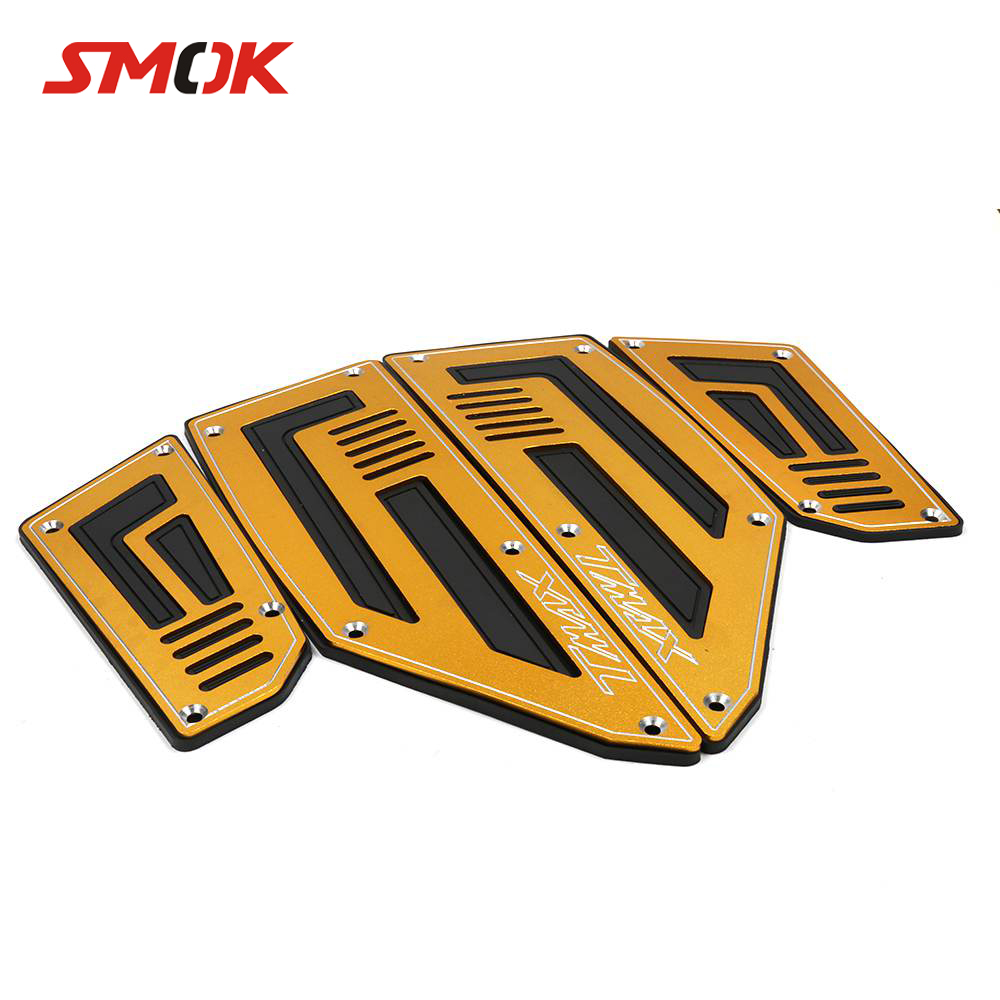 SMOK Motorcycle Footboard Steps Motorbike Foot Footrest Pegs Plate Pads For Yamaha T MAX 530 TMAX 530 2012 2013 2014 2015 2016 cnc motorbike kickstand foot side stand extension pad support plate for yamaha t max tmax 530 2012 2013 2014 2015