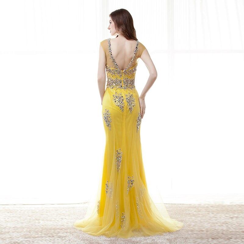 Gul Mermaid Prom Dresses Lång 2019 Sexy Robe De Soiree Longue - Särskilda tillfällen klänningar - Foto 2