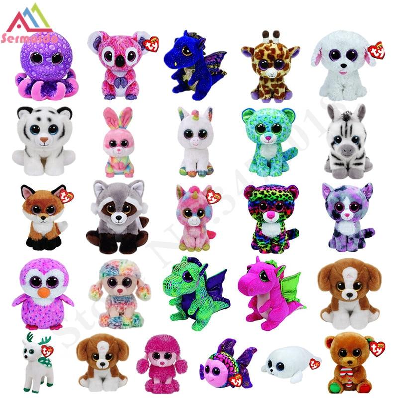 sermoido TY Beanie Boos Darla Dragon and Leopard Plush Doll Toys for Girl Rabbit Fox Cute Animal Owl Unicorn Cat Dog DBP116 ynynoo ty beanie boos cute slick bat plush toys 6 15cm ty plush animals big eyes eyed stuffed animal soft toys for kids gifts
