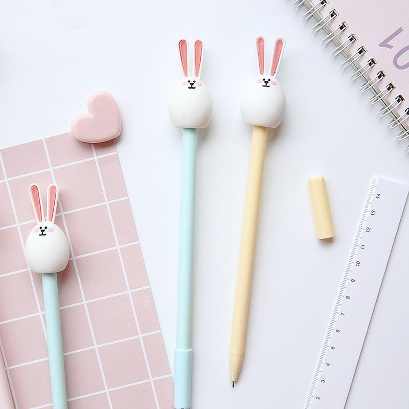 3 قطعة أرنب لطيف الأرنب هلام القلم الكرتون 0.5 مللي متر قلم حبر جاف أسود اللون للكتابة القرطاسية مكتب اللوازم المدرسية A6209