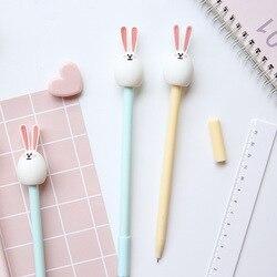 3pcs Cute bunny rabbit gel pen Cartoon 0.5mm ballpoint Black color pens for writing Stationery Office School supplies A6209